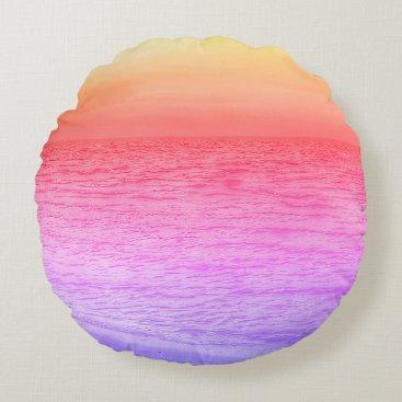 Beach Themed Multi-colored sunset over beach throw pillow