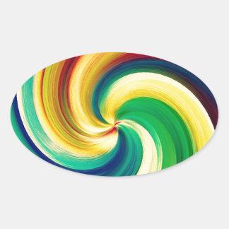 Multi colored Swirl Elegant Design Oval Sticker