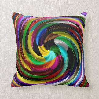 Multi Colored Swirl Retro Art Design Abstract Throw Pillow