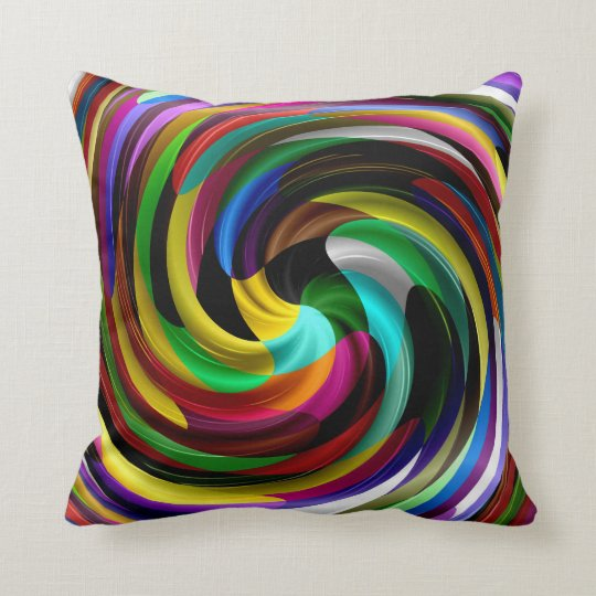 multi colored swirl retro art design abstract throw pillow