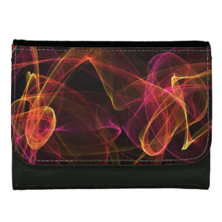Multi-colored Swirled Energy - Black Faux Leather Wallets