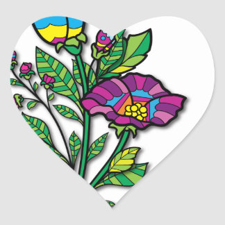 Multi Colored Tattoo Art Products and Apparel Heart Sticker