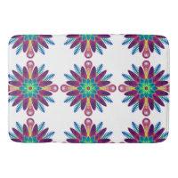 Multi-colored Tiled Spiral Designed Blue Stars Bathroom Mat