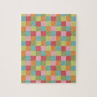 Multi Colored Tiles Quilt Squares Colorful Plaid Jigsaw Puzzle