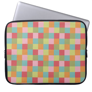 Multi Colored Tiles Quilt Squares Colorful Plaid Laptop Sleeve