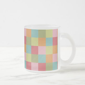 Multi Colored Tiles Quilt Squares Colorful Plaid 10 Oz Frosted Glass Coffee Mug