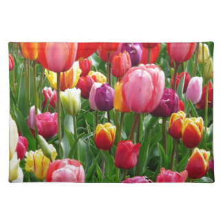 Multi-colored Tulips Cloth Placemat