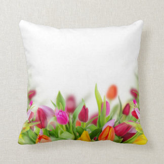 Multi colored Tulips Cushion Throw Pillow