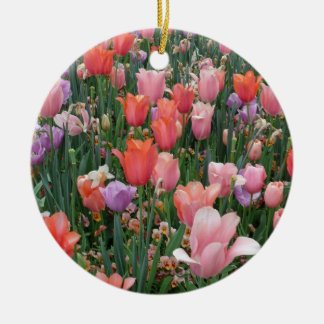 Multi Colored Tulips Double-Sided Ceramic Round Christmas Ornament