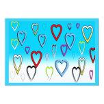 """Multi-colored Valentines Hearts on Blue 5"""" X 7"""" Invitation Card"""