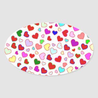 Multi colorido de los corazones en el pegatina