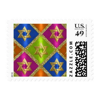 Multi Colors and Gold Star of David Postage Stamp