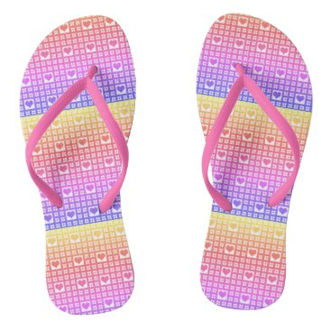 Beach Themed Multi-colors Hearts and Checks Flip Flops