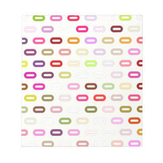 Multi Colors Ovals. Links On Beige Cream Pattern Note Pad