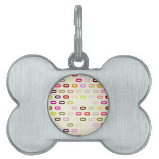 Multi Colors Ovals. Links On Beige Cream Pattern Pet Name Tags