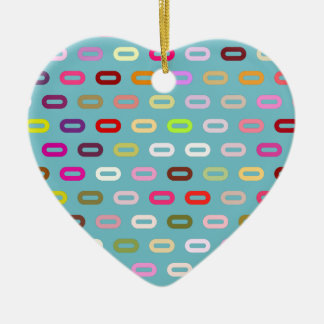 Multi Colors Ovals Links On Blue Curacao Pattern Christmas Ornament