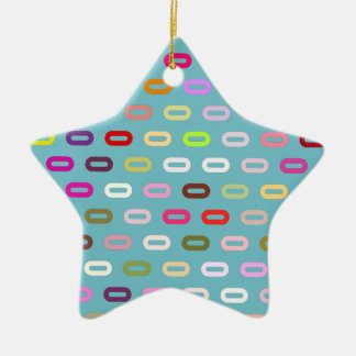 Multi Colors Ovals Links On Blue Curacao Pattern Christmas Tree Ornament