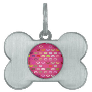 Multi Colors Ovals Links On Cabaret Red Background Pet ID Tag