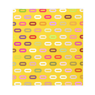 Multi Colors Ovals. Links On Canary Yellow Pattern Note Pads