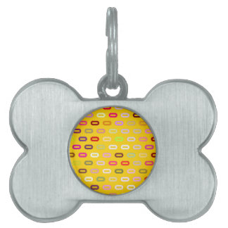 Multi Colors Ovals. Links On Canary Yellow Pattern Pet Name Tag