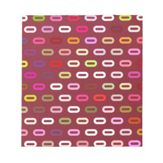 Multi Colors Ovals. Links On Cinnabar Red Pattern Memo Note Pads