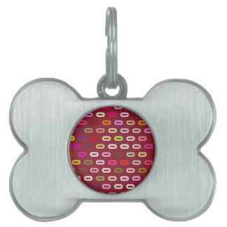 Multi Colors Ovals. Links On Cinnabar Red Pattern Pet ID Tag