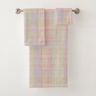 Multi-colors Pastel Glen Plaid Bath Towel Set