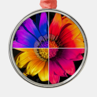 Multi-Colour Flower on Black Metal Ornament