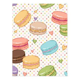 multi colour,macaroon,hearts,polka dot,pattern,fun postcard