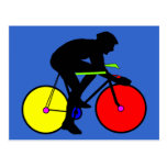 Multi coloured bicycle bike t-shirt post cards