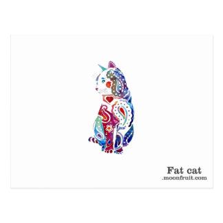 multi -coloured cat merchandise postcard
