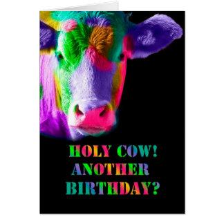 Multi coloured Cow Holy cow birthday card