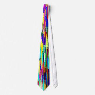 Multi-Coloured Crystalline Block Pattern Neck Tie