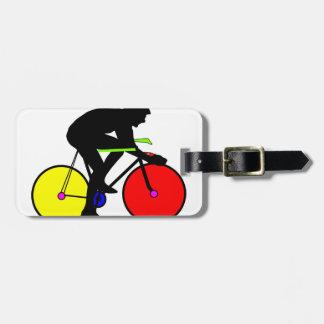 Multi coloured cycling bike bag tag