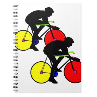 Multi coloured cycling bike spiral notebooks
