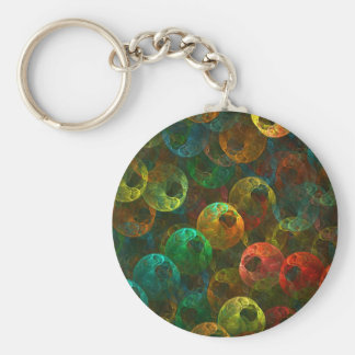 Multi Coloured Eyes Basic Round Button Keychain