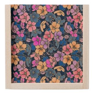 Multi Coloured Floral Wooden Keepsake Box