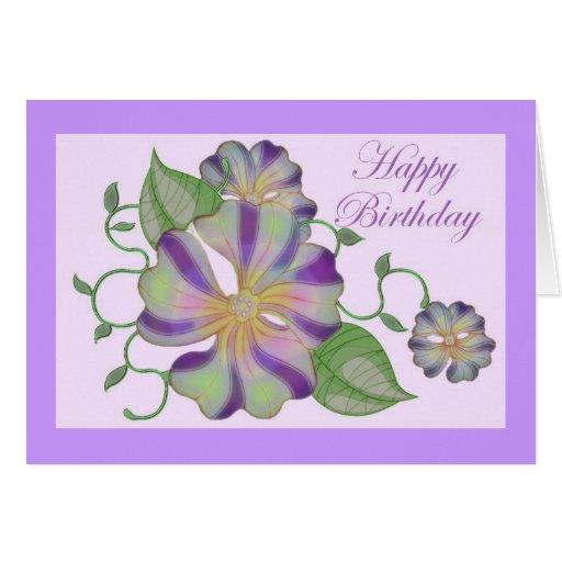 multi coloured flower happy birthday greeting card