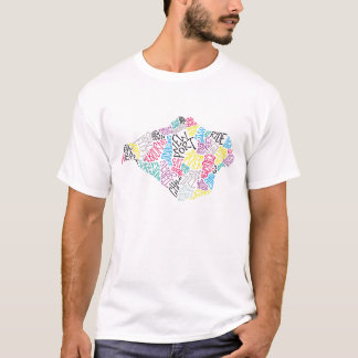 multi coloured Isle of Wight text map mens T shirt