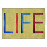 Multi-Coloured Life Vintage Style Motivation Greeting Cards