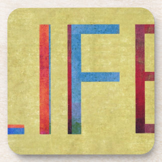 Multi-Coloured Life Vintage Style Motivation Coaster