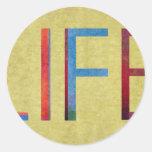 Multi-Coloured Life Vintage Style Motivation Round Stickers