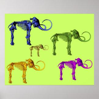 Multi Coloured Mammoth Skeletons Poster