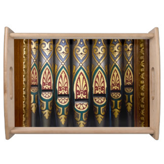 Multi-coloured organ pipes serving tray