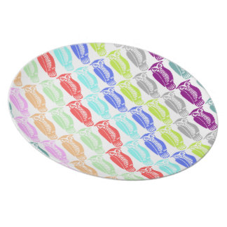 Multi-coloured Owls Party Plates