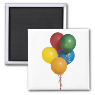 Multi Coloured Party Balloons 2 Inch Square Magnet