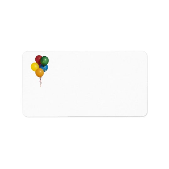 Multi Coloured Party Balloons Label