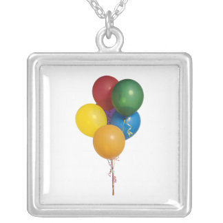 Multi Coloured Party Balloons Silver Plated Necklace
