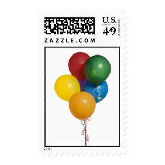 Multi Coloured Party Balloons Stamp