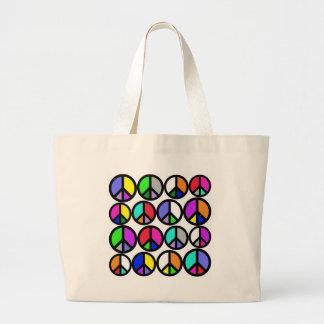 Multi-coloured Peace Symbols Large Tote Bag